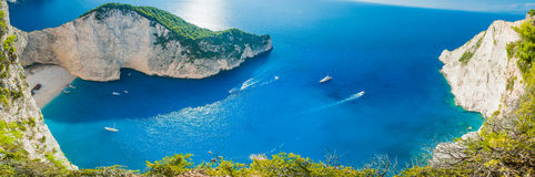 Shipwreck bay - Navagio beach - Zakynthos Greece. View from the top of hill, very big panorama on blue sea and bay Royalty Free Stock Images