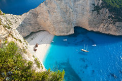 Shipwreck beach. With beautiful white sand and turquoise water in Zakynthos, Greece Stock Photography