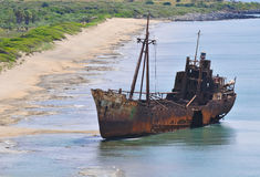 Shipwreck on the beach. Abandoned shipwreck on the beach Stock Photos
