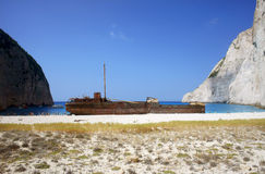 Shipwreck on the beach Royalty Free Stock Images