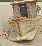 Shipwreck on the beach. Royalty Free Stock Photo