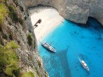Shipwreck beach. The most famous beach on Zakynthos Island (Greece) called shipwreck beach royalty free stock image