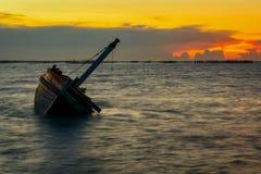 Shipwreck on the beach. Royalty Free Stock Photos