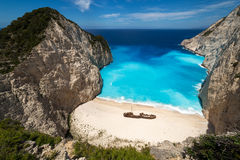 Shipwreck Beach. From a different spot in Zakynthos Island, Greece Royalty Free Stock Images