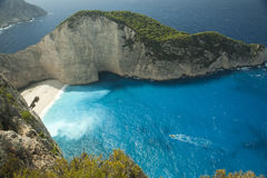 Shipwreck beach on greek island Stock Photo