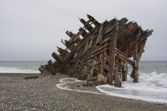 Shipwreck on beach. Shipwreck on the beach in Haida Gwaii Royalty Free Stock Images