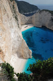 The Shipwreck Beach, island of Zakynthos, Greece. Famous Shipwreck Beach (or Navagio, or Smuggler's Cove) on island of Zakynthos, Greece Stock Images