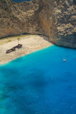 Shipwreck Beach, Navagio in Zakynthos, Greece. In a close crop, Navagio - the most famous beach on Zakynthos island with shipwreck and anchoring boats (Greece Royalty Free Stock Photo
