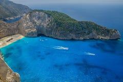 Shipwreck Beach, Navagio in Zakynthos, Greece royalty free stock image