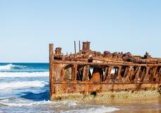 Shipwreck on the beach Stock Photo