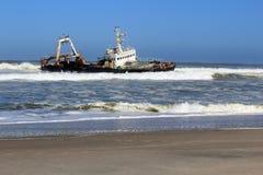 Shipwreck on a beach, Skeleton Coast Royalty Free Stock Photos