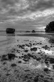 Shipwreck on the beach in South Corfu Greece Europe in black and white. Ionian Islands Stock Images