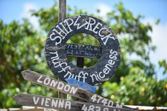Shipwreck Beach St. Kitts Caribbean. Signage for Shipwreck Beach St. Kitts stock images