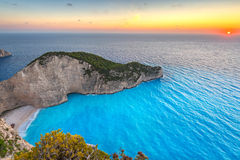 Shipwreck beach at sunset on Zakynthos Island Stock Images
