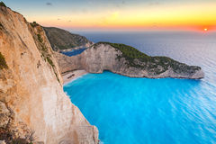 Shipwreck beach at sunset on Zakynthos Island Royalty Free Stock Photography