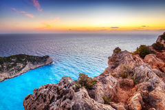 Shipwreck beach at sunset on Zakynthos Island Stock Photos