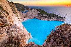 Shipwreck beach at sunset on Zakynthos Island Royalty Free Stock Photos