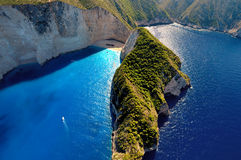 Shipwreck beach view, Zakynthos. Aerial view from the famous beach of Shipwreck. Zante, Greece royalty free stock image