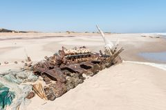 Shipwreck Benguela Eagle, which ran aground in 1973 Stock Photography