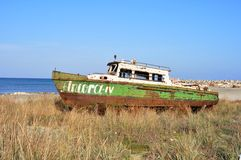 Shipwreck on the Black Sea coast , Romania Stock Photo