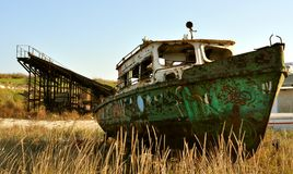 Shipwreck on the Black Sea coast , Romania Royalty Free Stock Photos