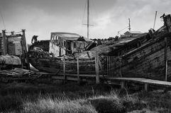 Shipwreck in black and white Royalty Free Stock Photos