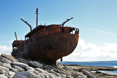 Shipwreck boat in Inisheer, Aran Islands. Old Shipwreck boat in Inisheer, Aran Islands, Galway county, Ireland Royalty Free Stock Photo
