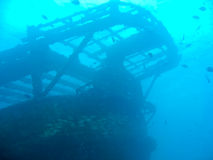 Shipwreck at the bottom of the ocean Stock Photos