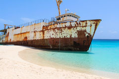 Shipwreck on Caribbean Beach Royalty Free Stock Images