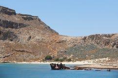 Shipwreck and castle at Imery Gramvousa Bay. Crete. Greece Stock Photo