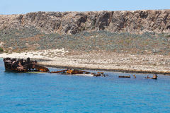 Shipwreck and castle at Imery Gramvousa Bay. Crete. Greece Royalty Free Stock Images