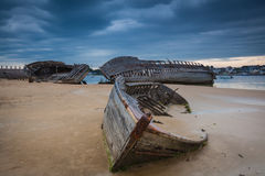 Shipwreck. Cemetery at the river Etel in Brittany Stock Photos