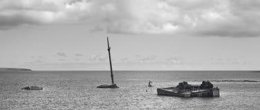 Shipwreck in Churchill barriers. Skapa Flow. Orkney. Scotland. UK Stock Photography