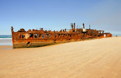 Shipwreck on the coast of Fraser Island. Queensland, Australia Royalty Free Stock Images