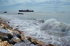 Seascape. Landmark attraction on the Black Sea - Costinesti, Romania. Shipwreck Evangelia Stock Image