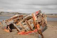 Shipwreck at crow point. In devon colorsplash royalty free stock images