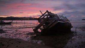 Shipwreck at dawn in Phuket, Royalty Free Stock Images