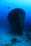 Shipwreck and divers. Kuda Giri shipwreck and scuba divers Royalty Free Stock Image