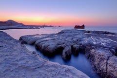 Shipwreck at dusk, Sarakiniko, Milos island,Greece Royalty Free Stock Images