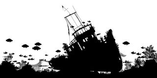 Shipwreck foreground. Editable vector silhouette foreground of coral and fish around a sunken boat with ship and fish as separate objects vector illustration