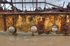Shipwreck Fraser Island. Rusty side of Maheno shipwreck on Fraser Island,Queensland, Australia Royalty Free Stock Image