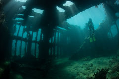 Shipwreck and Free Diver Royalty Free Stock Photography