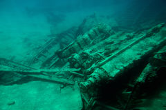 Shipwreck in Grand Cayman island. On bottom of blue sea Royalty Free Stock Image