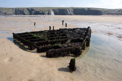 Shipwreck at Holywell Bay Stock Photos