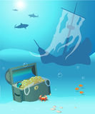 Shipwreck. Illustration of shipwreck under water with sharks and treasure chest Royalty Free Stock Image