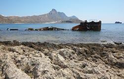 Shipwreck at Imeri Gramvousa Bay. Crete. Greece Royalty Free Stock Photography