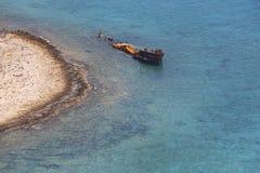 Shipwreck at Imeri Gramvousa Bay. Crete. Greece Royalty Free Stock Photo