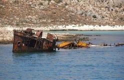 Shipwreck at Imeri Gramvousa Bay. Crete. Greece Royalty Free Stock Image