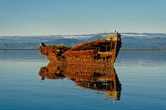Shipwreck Janie Seddon, Motueka Nowa Zelandia obrazy royalty free