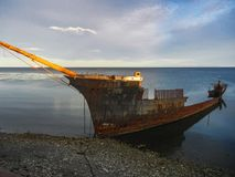 Shipwreck of the lord lonsdale frigate in punta arenas chile royalty free stock photography